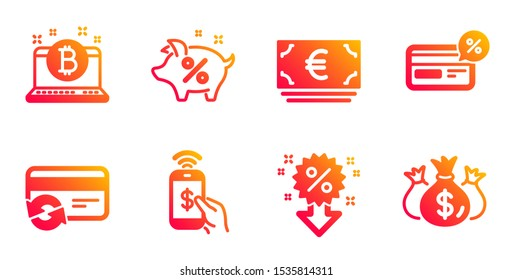 Discount, Cashback and Bitcoin line icons set. Euro currency, Loan percent and Phone payment signs. Change card, Check investment symbols. Sale shopping, Non-cash payment. Finance set. Vector