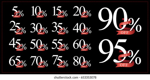 discount collection 5 10 15 20 25 30 35 40 45 50 55 60 65 70 75 80 90 95  percent of numbers vector