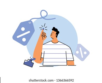 Discount Coupon for online shopping to Indonesian people who has use their right to vote on general election day vector illustration