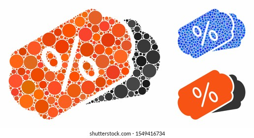 Discount coupons composition of circle elements in variable sizes and color tones, based on discount coupons icon. Vector round elements are organized into blue composition.