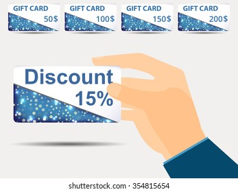 Discount coupons in hand. 15-percent discount. Special offer. Set gift card.
