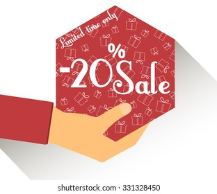 Discount coupons in hand. 20 percent discount. Special offer for holidays and weekends. Card with a seamless pattern of gift boxes. Design element in a flat style.