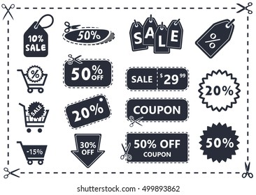 discount coupons icon set, offer price