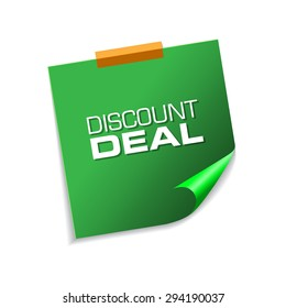 Discount Deal Green Sticky Notes Vector Icon Design