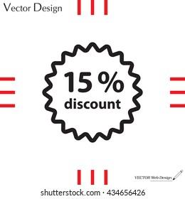 Discount fifteen (15) percent circular icon