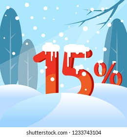 A discount fifteen percent. Figures in the snow against the backdrop of the winter forest. Vector illustration