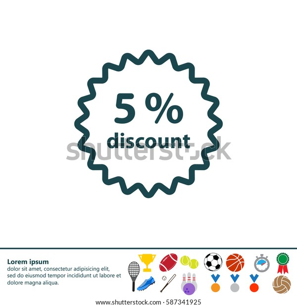 Discount five (5) percent circular icon