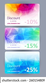 Discount gift cards set. Abstract mosaic faceted background.