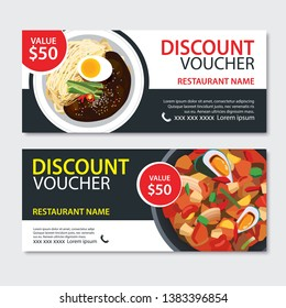 Discount gift voucher asian food template design. Korean and japanese set. Use for coupon, banner, flyer, sale, promotion.