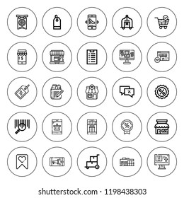 Discount icon set. collection of 25 outline discount icons with banner, barcode, cart, discount, discounts, ecommerce, label, online shop icons. editable icons.