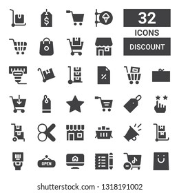 discount icon set. Collection of 32 filled discount icons included Shopping, Store, Shopping list, Ecommerce, Shop, Barcode, Trolley, Promotion, Shopping cart, Cut, Delivery cart