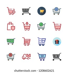 discount icon set. vector set about supermarket gift, carts, shopping cart and cart icons set.