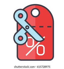 Discount icon symbol: sales,  coupon, savings, offer, shopping, promotion, deal, price, scissors. Editable strokes. Flat design line vector illustration concept. Image isolated on white background