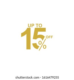 Discount Label up to 15% off Vector Template Design Illustration