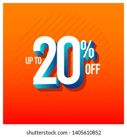 Discount Label up to 20% off Vector Template Design Illustration