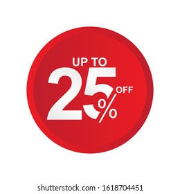 Discount Label up to 25% off Vector Template Design Illustration