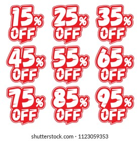 Discount labels. Price off tag icon. 15, 25, 35, 45, 55, 65, 75, 85, 95 percent sale. Vector illustration.