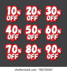 Discount labels. Price off tag icon. 10, 20, 30, 40, 50, 60, 70, 80, 90 percent sale. Vector illustration.