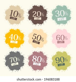 Discount Labels, Stains, Splashes