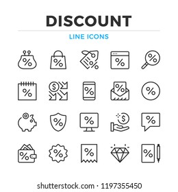 Discount line icons set. Modern outline elements, graphic design concepts, simple symbols collection. Vector line icons
