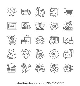 Discount line icons. Set of Sale, Shopping and New icons. Free delivery, Flight sale and Black friday discount. Hot offer, Airplane and new store. Online shopping. Black friday clearance. Vector