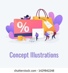 Discount and loyalty card, loyalty program and customer service, rewards card points concept. Vector isolated concept illustration with tiny people and floral elements. Hero image for website.