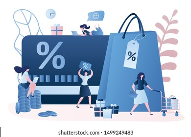 Discount and loyalty card, loyalty program and customer service, rewards card points concept. Vector illustration with women client, signs and elements. Trendy style design.