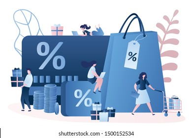 Discount and loyalty card, loyalty program and customer service, rewards card points concept. Vector isolated illustration with various people and elements. Trendy style design.