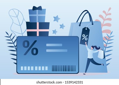 Discount or loyalty card, loyalty program and customer service, rewards card points concept. Happy woman consumer and shopping elements. Trendy style design. Vector illustration