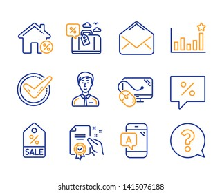 Discount message, Businessman person and Ab testing icons simple set. Mail, Computer mouse and Efficacy signs. Loan house, Sale coupon and Travel loan symbols. Line discount message icon. Colorful set