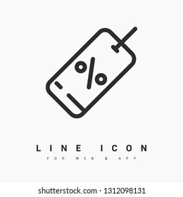 Discount minimal icon. Coupon line vector icon for websites and mobile minimalistic flat design.