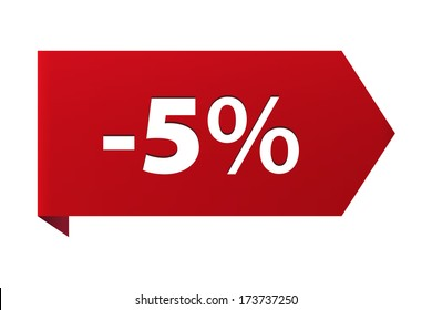 Discount minus 5 percent Banner ribbon red icon isolated on white background. Vector illustration