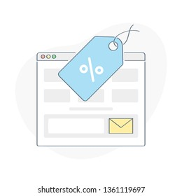 Discount offer illustration, marketing website sale or subscription form. Web browser page with sale tag and subscription form. UX / UI outline element for web and mobile design.