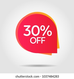 Discount offer price label, symbol for advertising campaign in retail, sale promo marketing, 30%