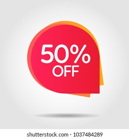 Discount offer price label, symbol for advertising campaign in retail, sale promo marketing, 50%