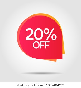 Discount offer price label, symbol for advertising campaign in retail, sale promo marketing, 20%