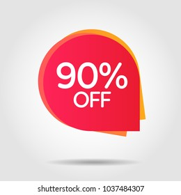 Discount offer price label, symbol for advertising campaign in retail, sale promo marketing, 90%