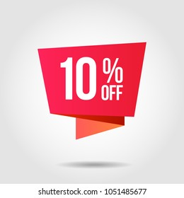Discount offer price label, symbol for advertising campaign in retail, sale promo marketing, 10%