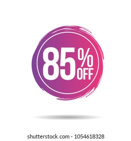 Discount offer price label, symbol for advertising campaign in retail, sale promo marketing, 85%