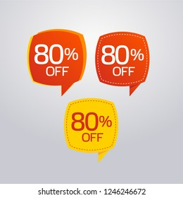 Discount offer price label, symbol for advertising campaign in retail, sale promo marketing, 80%