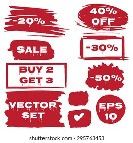 Discount offer stickers with bright watercolor splatters. Sale, Buy 2 Get 3, -30, -40, -50. Grunge style. Vector Illustration EPS10.