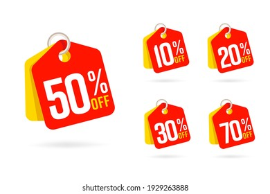 Discount offer tag set with 50 off sticker. Sale vector 10, 20, 30, 70 percent label. Promotion red banner with discount offer, clearence emlem flat style.