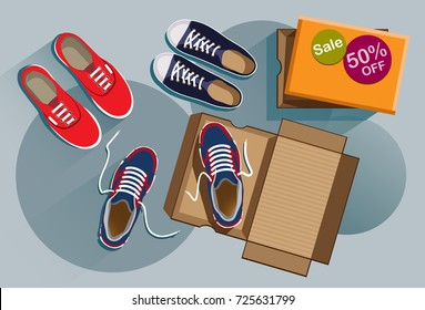 Discount on sneakers. Selling sneakers. Fashion sneakers red, black, blue colors. Flat style. Flat design. Vector illustration Eps10 file