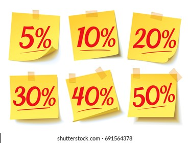 Discount percent tag: 5%, 10%, 20%, 30%, 40%, 50%. Discount price off and sales. Sale on yellow sticker. Shopping and low price symbols. Vector illustration. Isolated on white background. Set