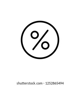 Discount percentage inside circle, vector icon illustration in line/outline style
