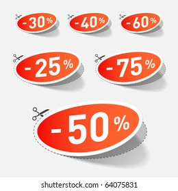 Discount percents with cut line. Vector.