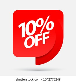 Discount with the price is 10. Realistic Red Glossy paper ribbon. Vector illustration