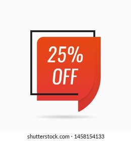 Discount with the price is 25. Sale of special offers. Flat style vector illustration.