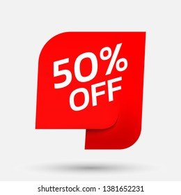 Discount with the price is 50. Special offers sale. An ad with a red tag for an advertising campaign at retail on the day of purchase. vector illustration