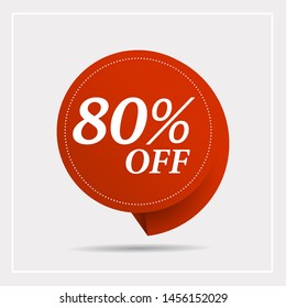 Discount with the price is 80% . This is the concept of the price list for discounts, of an advertising campaign, advertising marketing sales,